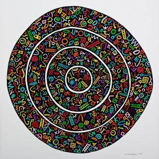 Linocut. (handcoloured). Unlimited. dia. 29.0cm (approx)
