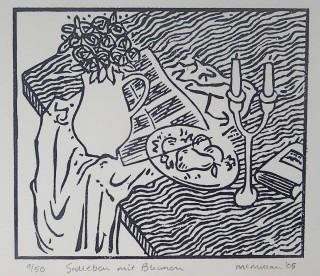 Linocut. Edition 50. 12.3cm x 14.4cm.