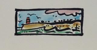 Linocut & watercolour. Edition 50. 2.4cm x 6.0cm.