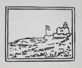 Linocut. Edition 100. 7.5cm x 9.6cm.