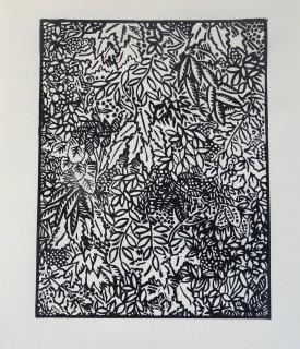 Linocut. Edition 25. 19.5cmx 15.1cm.