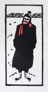 Linocut & Watercolour.  Edition 50. 7.0cm x 3.2.cm