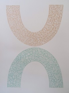 2 colour Linocut. Edition 25.  33.5cm x 24.5cm