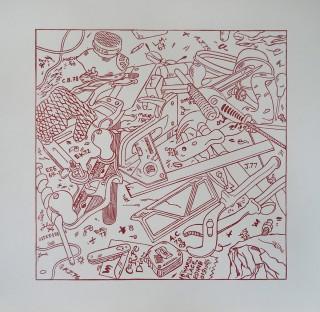 Linocut. Edition 25.  30.5cm x 30.5cm