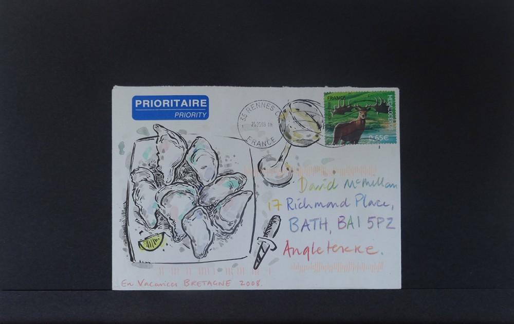 Pen, ink, watercolour, coloured pencil. C6 envelope